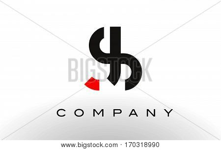 JS Logo. Letter Design Vector with Red and Black Colors.