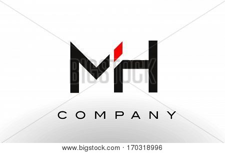 MH Logo. Letter Design Vector with Red and Black Colors.