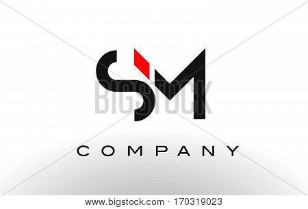 SM Logo. Letter Design Vector with Red and Black Colors.