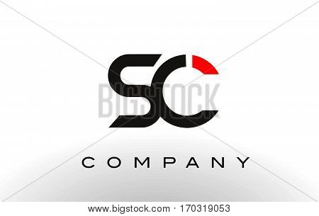 SC Logo. Letter Design Vector with Red and Black Colors.