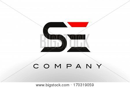 SE Logo. Letter Design Vector with Red and Black Colors.