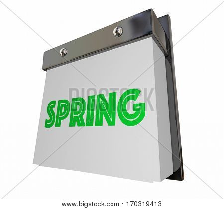 Spring Season Word Changing Calendar Page 3d Illustration