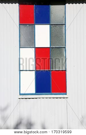 stained glass in a warehouse