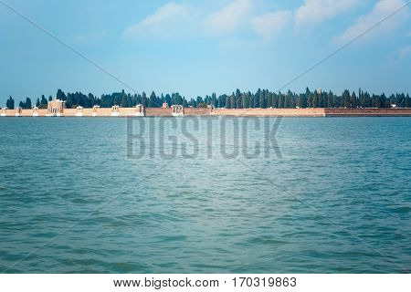 San Michele cemetery island in the Venetian Lagoon in Venice, Italy