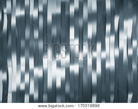 Abstract background in form of waved metal stripes. 3d rendering.