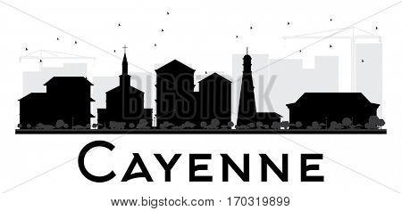 Cayenne City skyline black and white silhouette. Simple flat illustration for tourism presentation, banner, placard or web site. Cityscape with landmarks.