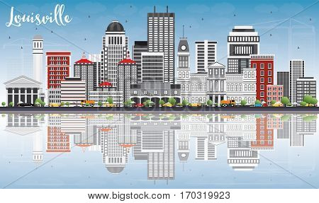 Louisville Skyline with Gray Buildings, Blue Sky and Reflections. Business Travel and Tourism Concept with Modern Architecture. Image for Presentation Banner Placard and Web Site.