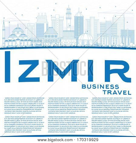 Outline Izmir Skyline with Blue Buildings and Copy Space. Business Travel and Tourism Concept with Modern Architecture. Image for Presentation Banner Placard and Web Site.