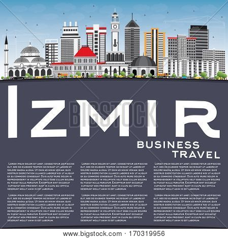 Izmir Skyline with Gray Buildings, Blue Sky and Copy Space. Business Travel and Tourism Concept with Modern Architecture. Image for Presentation Banner Placard and Web Site.