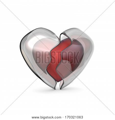 Red heart with broken iced shell. 3D render illustration isolated on white background