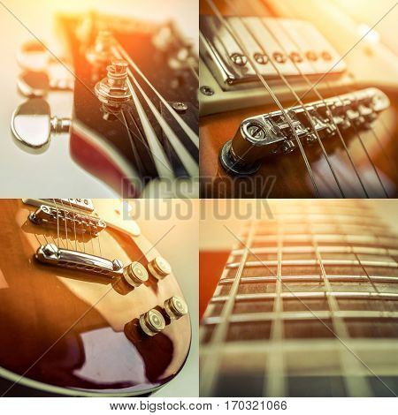Rock guitar. Collage of close-up view parts of guitar, very popular musical instrument of the world.