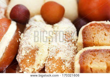 Close up of some popular Bangladeshi sweetmeats