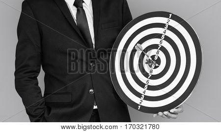 Man Suit Darts Bullseye Concept