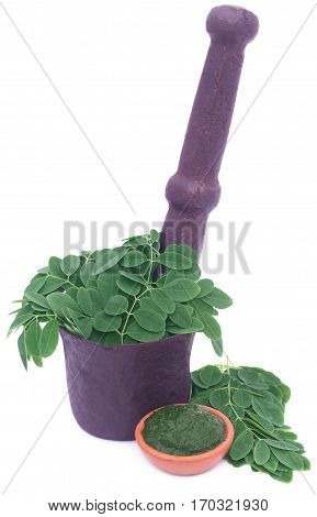 Edible moringa leaves in a vintage mortar with ground paste in a pottery over white background