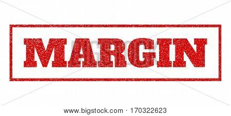 Red rubber seal stamp with Margin text. Vector message inside rectangular banner. Grunge design and scratched texture for watermark labels. Scratched sticker.