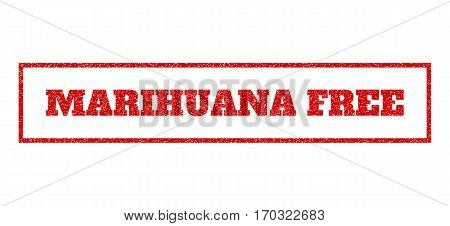 Red rubber seal stamp with Marihuana Free text. Vector message inside rectangular banner. Grunge design and unclean texture for watermark labels. Scratched sticker.