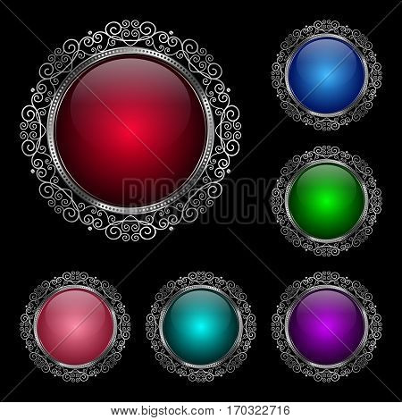 Glossy round frame in a silver rim. Vector Illustration for greeting card