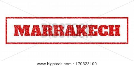 Red rubber seal stamp with Marrakech text. Vector tag inside rectangular frame. Grunge design and scratched texture for watermark labels. Scratched sign.