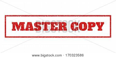 Red rubber seal stamp with Master Copy text. Vector tag inside rectangular frame. Grunge design and dust texture for watermark labels. Scratched sign.