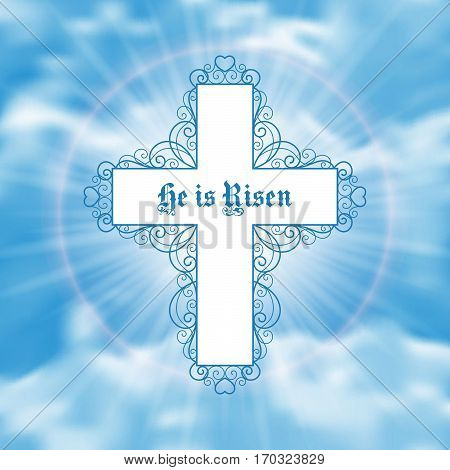 He is Risen. Easter greeting card with white cross and sun rays in the cloudy sky. Vector Illustration