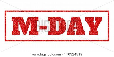 Red rubber seal stamp with M-Day text. Vector message inside rectangular banner. Grunge design and scratched texture for watermark labels. Scratched emblem.
