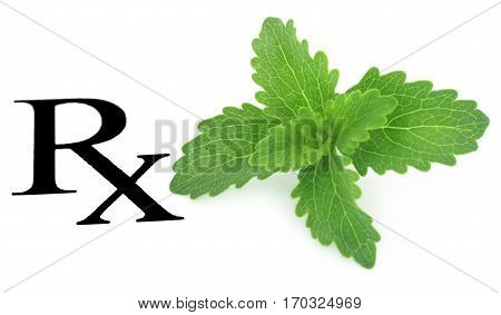 Close up of Stevia leaves prescribed as medicine