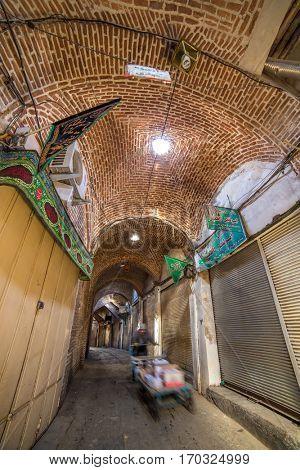 Tabriz, Iran - December 4, 2015: Old Bazaar of Tabriz, Iran. This place was inscribed as World Heritage Site