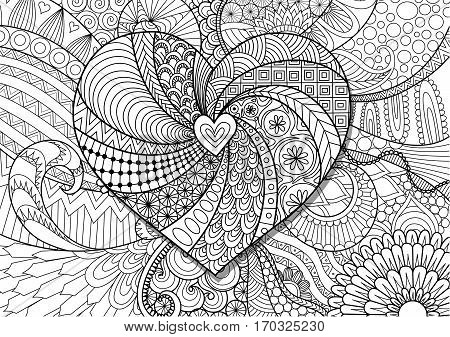 Heart shape on floral background for Valentine's card,wedding invitation and adult coloring book page