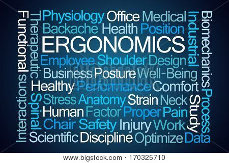 Ergonomics Word Cloud on Blue Background