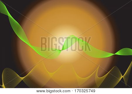 abstract wave lines wavy green for brochure and website design on brown background. vector illustration ESP 10