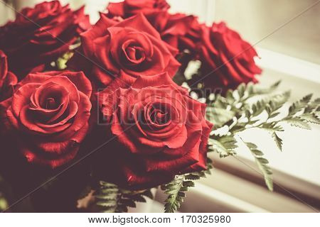 bouquet of red roses. St Valentine's concept (romantic)