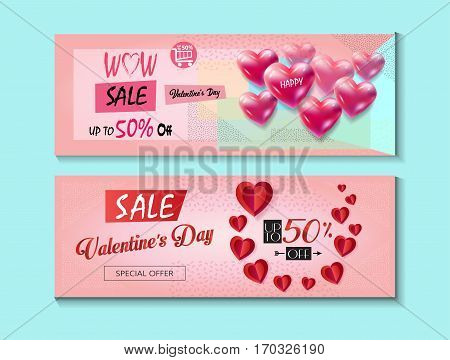 Sale discount banner for Valentines Day. Weekend Sale Vector template. Special offer poster with heart balloons, price tag, festive background. Love, poster, banner, coupon, voucher, price tags. Typography Gift card Advertising design