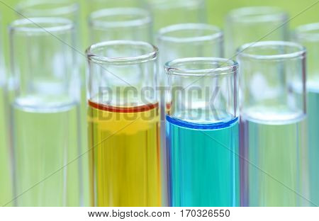 Closeup of some test tubes in a research laboratory