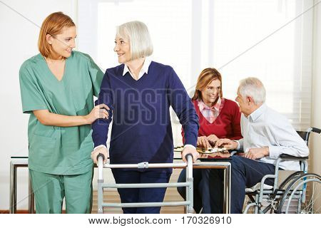 Home nursing care for senior couple at home