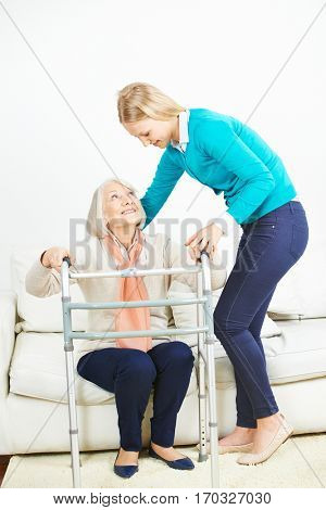 Granddaughter caring for her grandmother at home