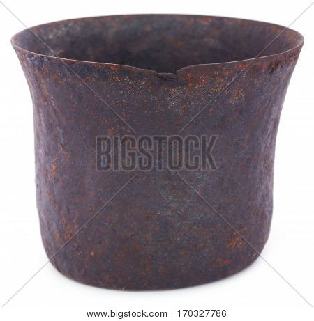 Close up of Vintage mortar over white background