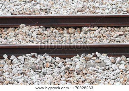 railway track on gravel for train transportation