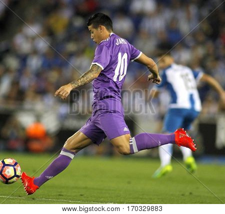 BARCELONA, SPAIN - SEPT, 18: James Rodriguez of Real Madrid of during a Spanish League match against RCD Espanyol at the RCDE Stadium on September 18 2016 in Barcelona Spain