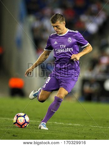 BARCELONA, SPAIN - SEPT, 18: Toni Kroos of Real Madrid during a Spanish League match against RCD Espanyol at the RCDE Stadium on September 18 2016 in Barcelona Spain