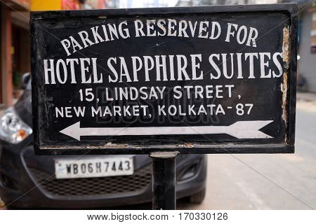 KOLKATA, INDIA - FEBRUARY 08: Parking banner of the hotel Sapphire Suites on New Market in Kolkata, India on February 08, 2016.