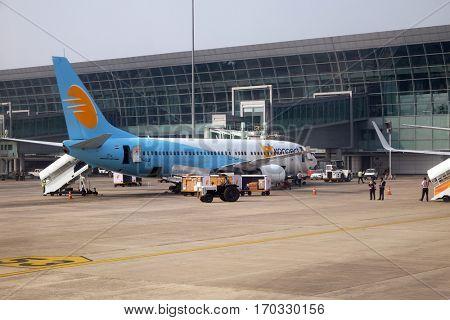 KOLKATA, INDIA - FEBRUARY 07: Boeing 737-800 operated by Jet Konnect at Kolkata international Airport on February 07, 2016