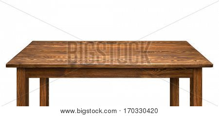 Brown wooden table isolated on white background.