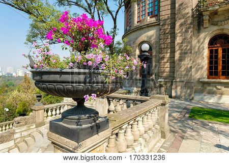 MEXICO CITY,MEXICO - DECEMBER 27,2016 : Detail of Chapultepec Castle, home of the National History Museum in Mexico City