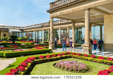 MEXICO CITY,MEXICO - DECEMBER 27,2016 : Garden at Chapultepec Castle, home of the National History Museum in Mexico City