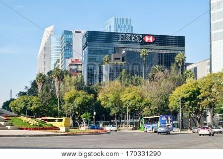 MEXICO CITY,MEXICO - DECEMBER 27,2016 : Banks, office buildings and modern skyscrapers at Paseo de la Reforma in Mexico City