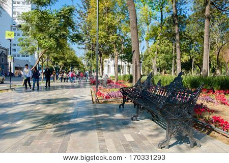 MEXICO CITY,MEXICO - DECEMBER 28,2016 : The famous Alameda Central Park in the historic center of Mexico City