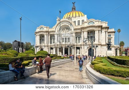 MEXICO CITY,MEXICO - DECEMBER 28,2016 : Palacio de Bellas Artes or Palace of Fine Arts, a famous art gallery, music venue and theater in Mexico City