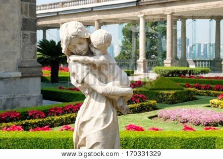 MEXICO CITY,MEXICO - DECEMBER 27,2016 : Beautiful gardens at the alcazar on top of Chapultepec Castle in Mexico City