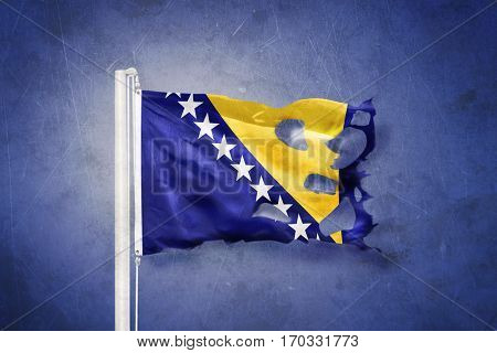 Torn flag of Bosnia and Herzegovina flying against grunge background.