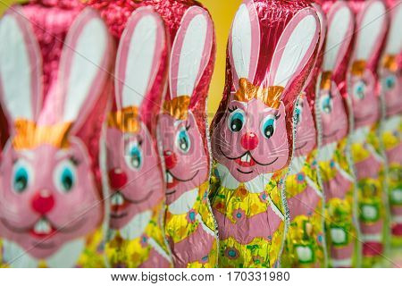 Chocolate Easter bunny figure. Easter chocolate rabbit figurines